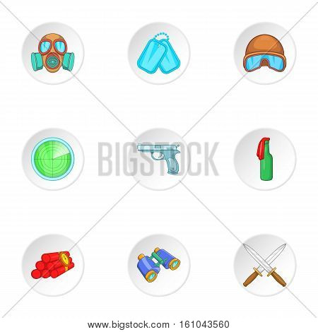 War equipment icons set. Cartoon illustration of 9 war equipment vector icons for web