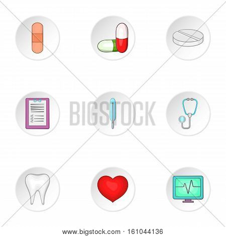Diagnosis icons set. Cartoon illustration of 9 diagnosis vector icons for web