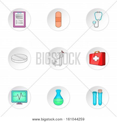 Healing icons set. Cartoon illustration of 9 healing vector icons for web