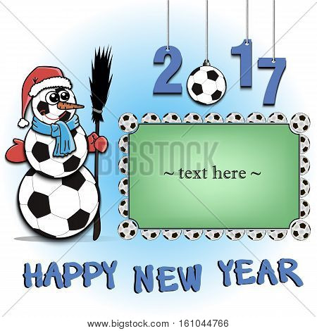Frame with soccer balls and snowman from soccer balls on a green background. Vector illustration