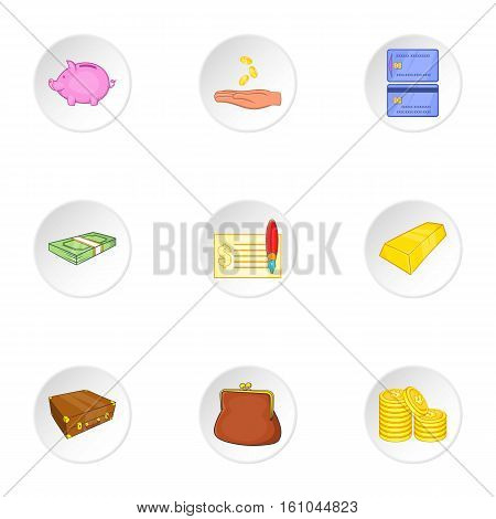 Money icons set. Cartoon illustration of 9 money vector icons for web