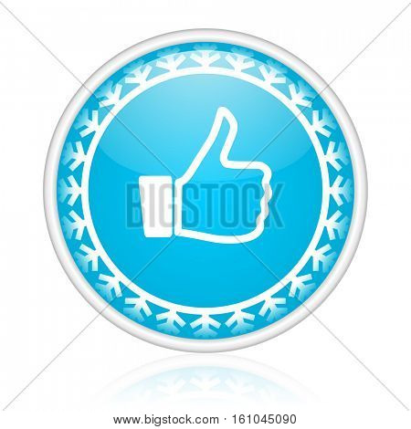 Like vector icon. Winter and snow design round web blue button. Christmas and holidays pushbutton.