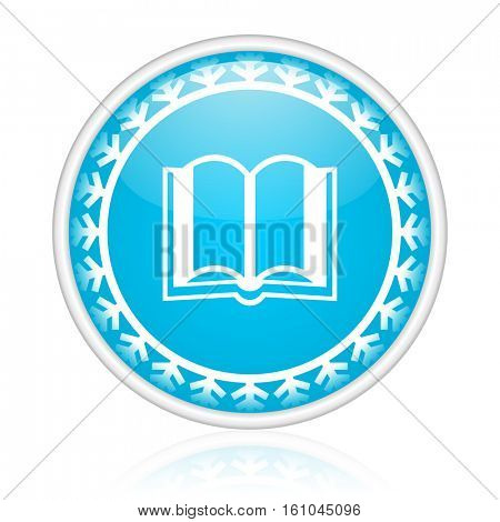 Book vector icon. Winter and snow design round web blue button. Christmas and holidays pushbutton.