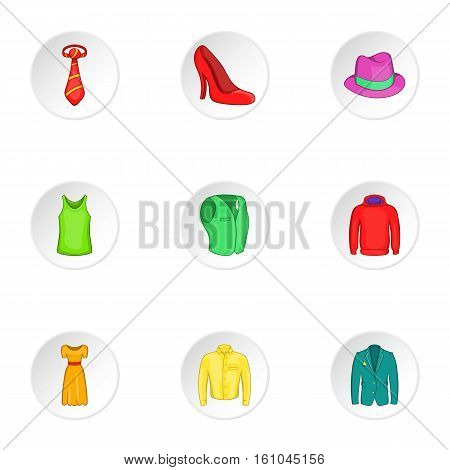 Material icons set. Cartoon illustration of 9 material vector icons for web