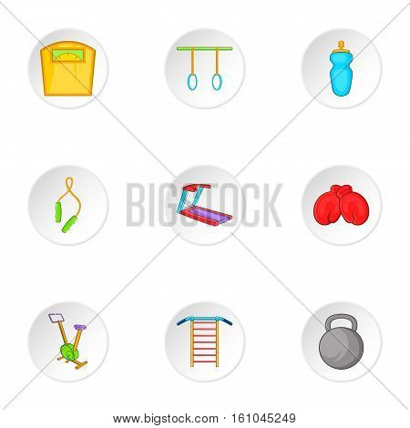 Classes in fitness room icons set. Cartoon illustration of 9 classes in fitness room vector icons for web