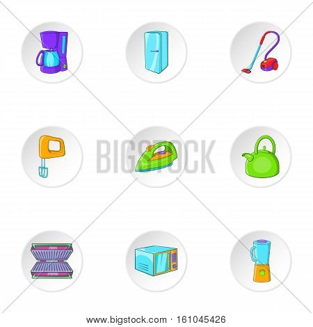 Home electronics icons set. Cartoon illustration of 9 home electronics vector icons for web