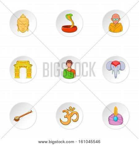 Stay in India icons set. Cartoon illustration of 9 stay in India vector icons for web