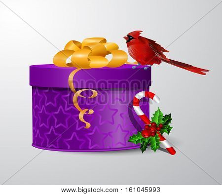 Vector gift box illustration with cardinal red bird and candy cane isolated on white background woth red bow
