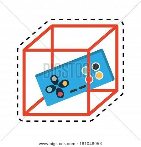 vr controller game 3d 360 degree design cut line vector illustration eps