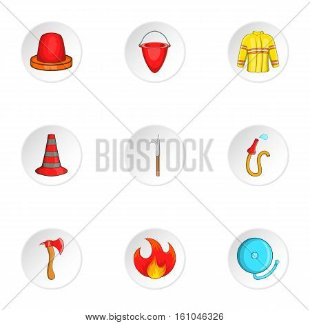 Firefighter icons set. Cartoon illustration of 9 firefighter vector icons for web