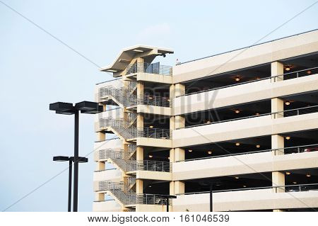 close up on the parking lot building