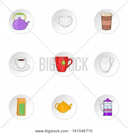Beverage icons set. Cartoon illustration of 9 beverage vector icons for web