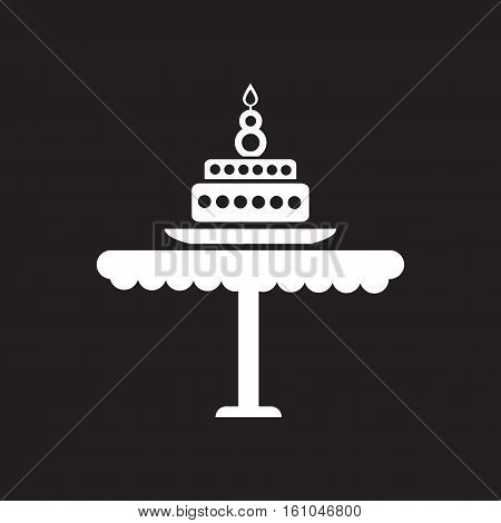 Flat icon in black and  white torte