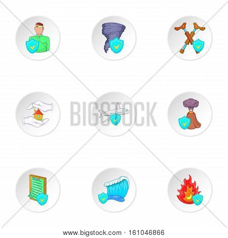 Disaster icons set. Cartoon illustration of 9 disaster vector icons for web