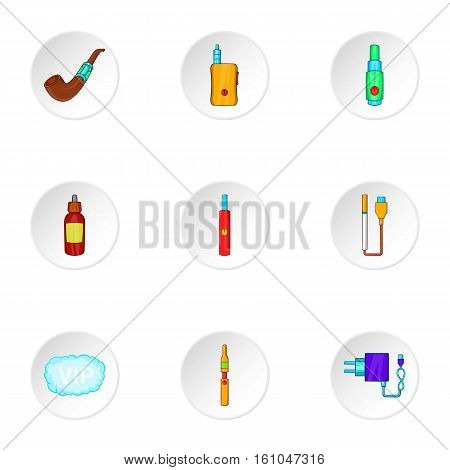Electronic cigarette icons set. Cartoon illustration of 9 electronic cigarette vector icons for web