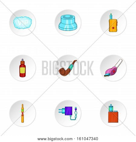 Electronic smoking cigarette icons set. Cartoon illustration of 9 electronic smoking cigarette vector icons for web