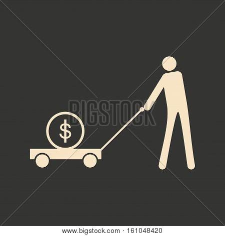 Flat black white man and dollar in cart