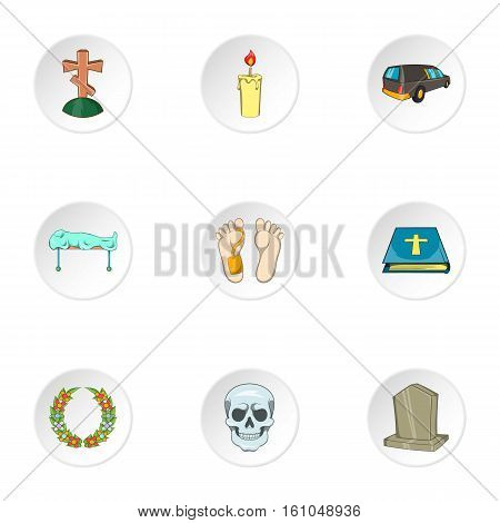Funeral services icons set. Cartoon illustration of 9 funeral services vector icons for web