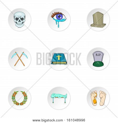 Burial icons set. Cartoon illustration of 9 burial vector icons for web