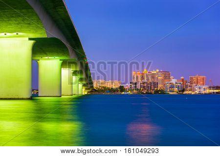 Sarasota, Florida, USA skyline under the bridge.