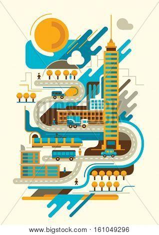 Retro style illustration of city scene. Vector illustration.