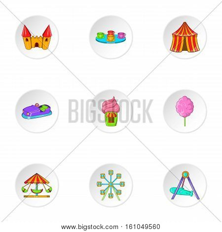 Entertainment for children icons set. Cartoon illustration of 9 entertainment for children vector icons for web