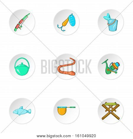Fishing icons set. Cartoon illustration of 9 fishing vector icons for web