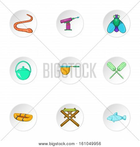 Hunting for fish icons set. Cartoon illustration of 9 hunting for fish vector icons for web