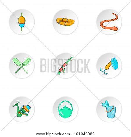 Catch fish icons set. Cartoon illustration of 9 catch fish vector icons for web