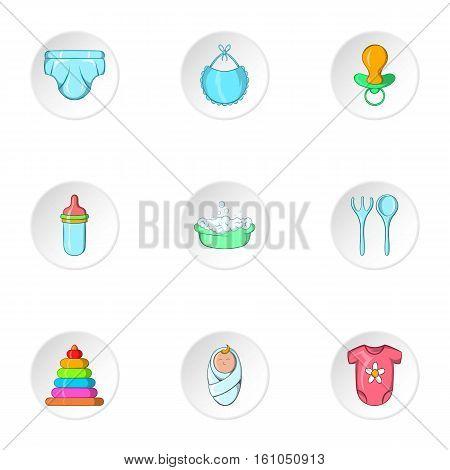 Newborn icons set. Cartoon illustration of 9 newborn vector icons for web