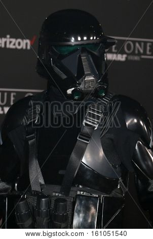 A blackhole stormtrooper at the World premiere of 'Rogue One: A Star Wars Story' held at the Pantages Theatre in Hollywood, USA on December 10, 2016.