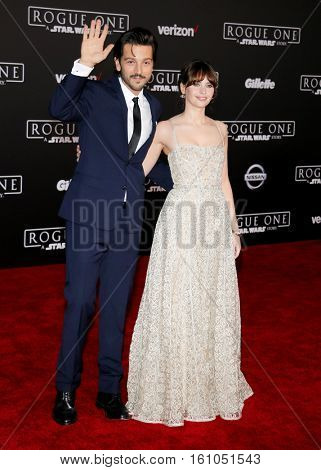 Felicity Jones and Diego Luna at the World premiere of 'Rogue One: A Star Wars Story' held at the Pantages Theatre in Hollywood, USA on December 10, 2016.