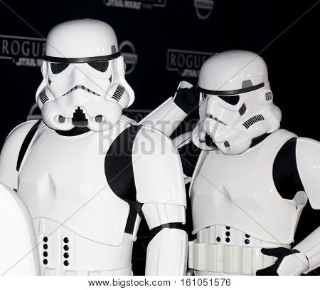 Stromtroopers at the World premiere of 'Rogue One: A Star Wars Story' held at the Pantages Theatre in Hollywood, USA on December 10, 2016.