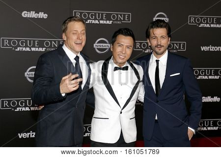 Alan Tudyk, Donnie Yen and Diego Luna at the World premiere of 'Rogue One: A Star Wars Story' held at the Pantages Theatre in Hollywood, USA on December 10, 2016.