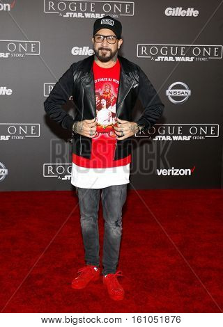 A. J. McLean at the World premiere of 'Rogue One: A Star Wars Story' held at the Pantages Theatre in Hollywood, USA on December 10, 2016.