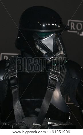 A Death Trooper at the World premiere of 'Rogue One: A Star Wars Story' held at the Pantages Theatre in Hollywood, USA on December 10, 2016.