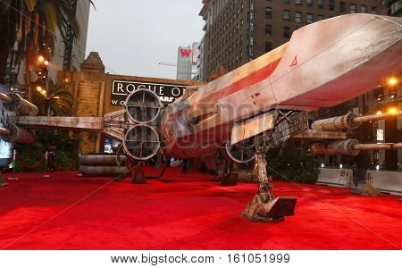 X-wing Starfighter at the World premiere of 'Rogue One: A Star Wars Story' held at the Pantages Theatre in Hollywood, USA on December 10, 2016.