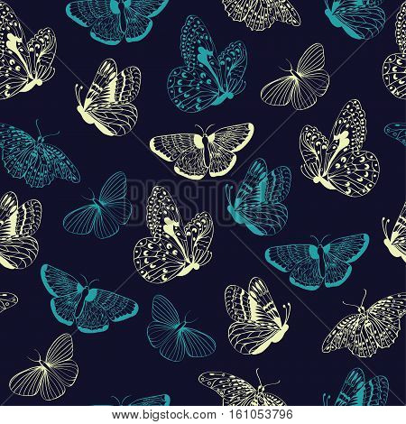 Seamless pattern of butterflies silhouettes. Elegance Butterfly on dark blue background Vector illustration.