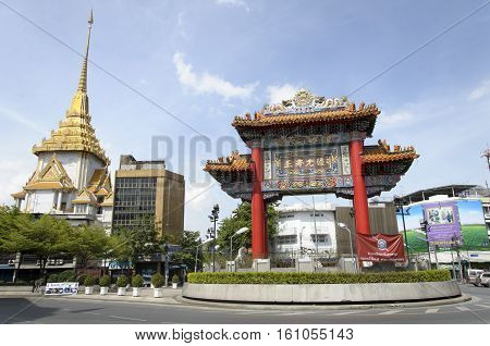 Bangkok - July 7: Gate Of Chinatown On July 7, 2014 In Bangkok, Thailand. Arch Marks The Beginning O