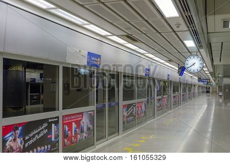 Bangkok - July 18: Night On An Empty Metro (mrt) Station On July 18, 2014 In Bangkok, Thailand. The