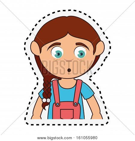 Cute girl whistling character vector illustration design