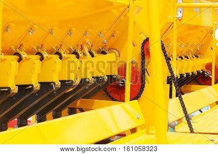 Colour machine part technology background selective focus