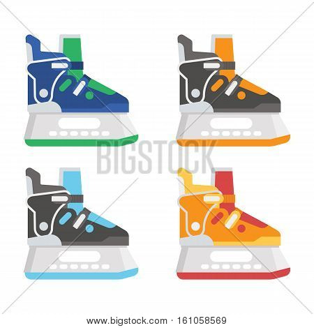 Ice skating shoes in different colors. Various ice-skates vector illustration.