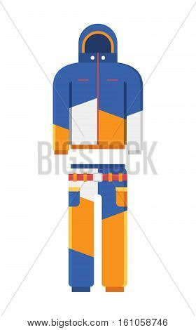 Vector illustration of skiing suit. Snowboard jacket and trousers. Snowboarding and skiing wear in flat design.