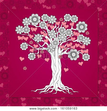 Romantic card for Valentine`s Day save the date invitation wedding with hand drawn flowers and hearts on the tree on the vinous background. eps 10.