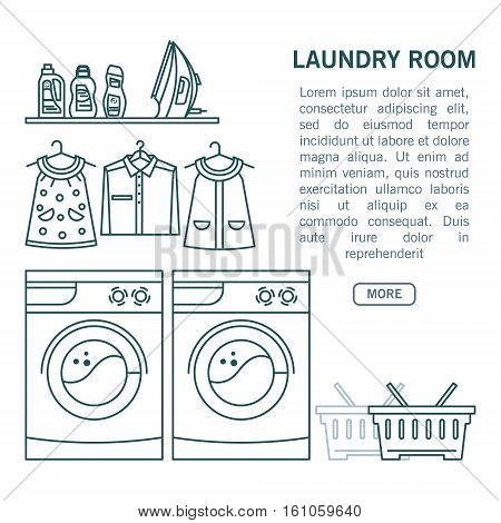Illustration laundry - washing machine, laundry basket, laundry detergent made in fashionable style vector lines. Graphics for posters, banners, websites.