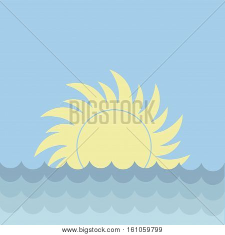 Sea and sun on the horizon on a clear day