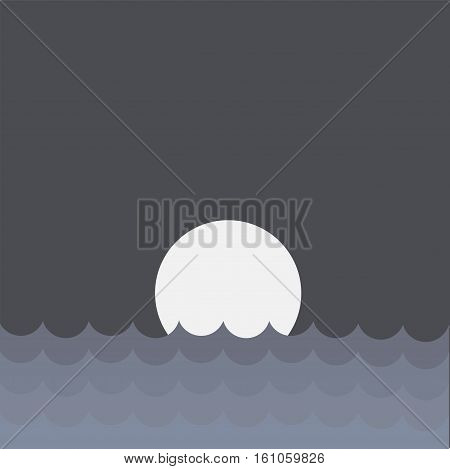 The sea and the moon on the horizon in the night the day