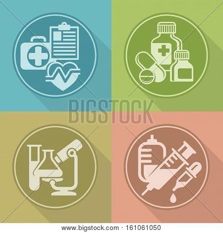 Set Of Medicines Symbols On Color