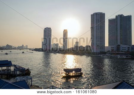 Bangkok January 2 :ferry Boat At Chao Phraya River, Chao Phraya River Is A Major River In Thailand,m